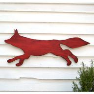 Fox Wooden Sign Red