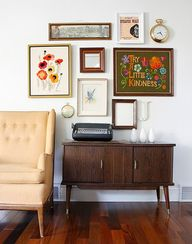 A charmingly vintage gallery wall.