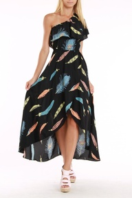 Raven One Shoulder Ruffle Maxi Dress In Black Feather