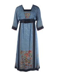 "Dress, 1912-1914. Silk with embroidery in bright colors. The cut of the dress is Western, but parts of Chinese clothing were used. The skirt seems to be made from a type called the ""hundred-pleats skirt,"" fashionable in China from the 1860s. This skirt with its many sewn-down pleats would originally have been worn as part of an ensemble that included a long jacket-type robe."