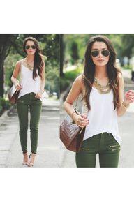 olive green pants +