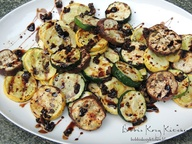 Grilled Veggies with Garlic Balsamic Reduction (zucchini, summer squash, small Japanese eggplant)...these are super easy, healthy, cheap and sooo tasty!