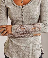 Gray Arm Detail Blou