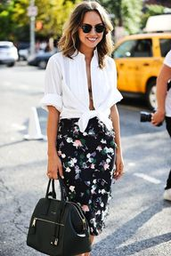 Floral pencil skirt