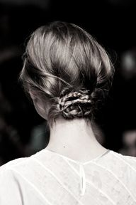 Low braided bun.