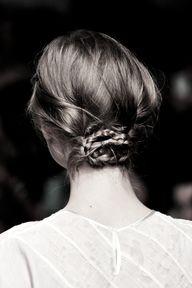 Low braided bun.