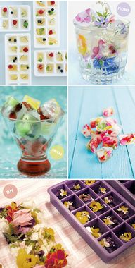 Ice fruits and flowe