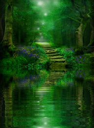 In her memory, I just had to post this lovely fantasy green glade, on what would've been my Mommy's 81st birthday. She loved the color green so much, and would've loved such a picture...