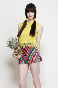 "Shakuhachi you can actually buy right now (albeit from Australia) -- filet crochet lace top, crochet shorts that are showing all those ""crochet"" shorts from Forever 21 who's boss."