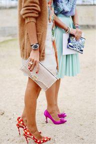 Midi skirts, clutche