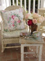 ❥ cottage style~ the wicker, the pillow, the flowers, the silver, the china... *sighs*