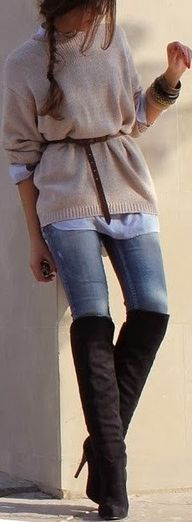 Grey sweater, jeans