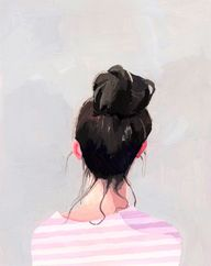 "In love with artist Elizabeth Mayville's ""Top Knot"" series..."