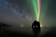 Aurora borealis over