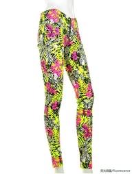 Multi Fluorescence Floral Skinny Leggings