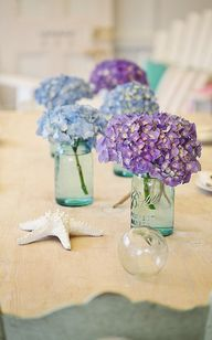 blue mason jars with