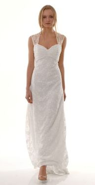 Classic and elegant, the Luladey gown features sparkling sheer sleeves made of cotton embroidered Italian gauze and a ruched sweetheart neckline. A heavenly sheer back with delicate floral detailing completes the look. Luladey from The Cotton Bride for $3,200.