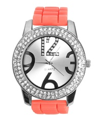 Double Rhinestone Rubber Watch - Accessories