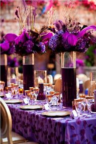 Radiant orchid tablescapes. #coloroftheyear