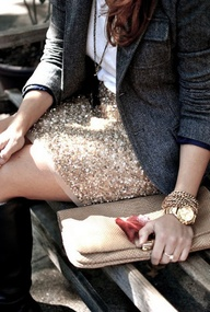 gold sparkle skirt +