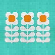 Retro Flowers Cross-