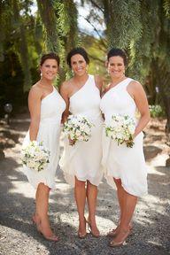 White bridesmaid dresses, so pretty!