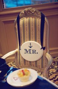 Nautical Wedding in Navy Blue & Pink | Confetti Daydreams - Groom's wedding chair with anchor detail ♥ #Nautical #Wedding #Theme #Pink #Navy #Blue