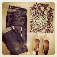 Leopard, mint, jeans