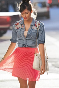 Chambray + coral #maxxstyle #brilliantbright
