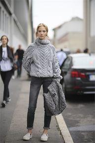 Grey knit, grey deni