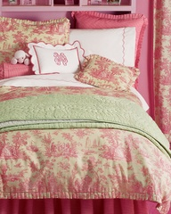 pink and green toile
