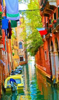 Colorful canal in Ve