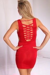 red criss cross dres...