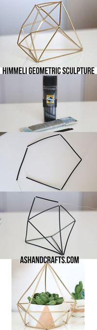 DIY Himmeli Geometric Sculpture | http://ashandcrafts.com