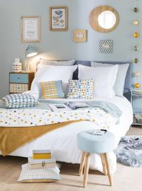 Lovely pastel blue tones for the rear guest bedroom. Made.com