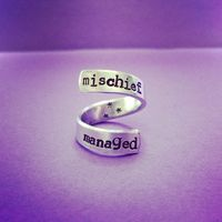 Mischief Managed Adjustable Wrap Ring Harry Potter Inspired Hand Stamped Handmade from SHOW PONY