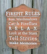 Firepit Rules • Hand Painted Sign • Wood Sign • Reclaimed Wood • Home Decor