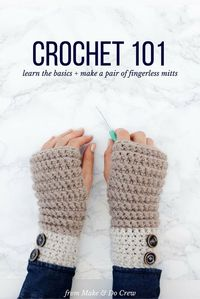 If you've ever wanted to learn how to crochet, even if you've never picked up a hook, this beginner video course is for you! Learn all the fundamentals of crochet while making a modern and cozy pair of fingerless mitts.: