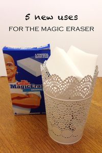 5 NEW uses for the Magic Eraser: remove paint that has dried, remove adhesive residue after removing stickers, remove rust from most surfaces, remove nail polish spills or stains, remove tarnish from silver ... what are your favorite uses? #PGBestforME