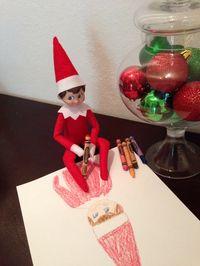 Elf on the Shelf Day 10: Self portrait. Kipper is quite the artist! #elfontheshelf