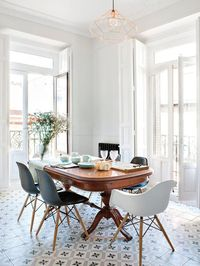 Eames chair, antique table and tiles