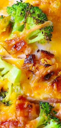 Broccoli Bacon Cheddar Chicken Breasts baked in a casserole dish.  Gluten free recipe.