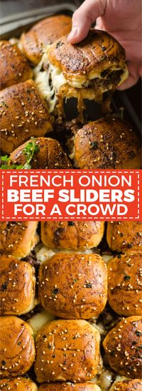 French Onion Beef Sliders For A Crowd. This is one appetizer recipe you don't want to skip. Serve it for the Super Bowl and watch how quickly these little sandwiches disappear.   hostthetoast.com
