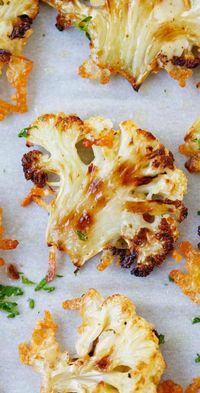 Parmesan Roasted Cauliflower – the most delicious cauliflower ever, roasted with butter, olive oil and Parmesan cheese. SO GOOD!! | rasamalaysia.com