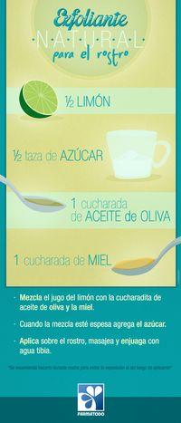 Exfolia tu rostro de manera natural #Salud #Belleza #Exfoliante