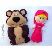 Masha and the Bear by LivelyFeltToys on Etsy