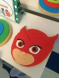Nice cookies at a PJ Masks birthday party! See more party ideas at CatchMyParty.com!