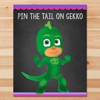 PJ Masks Pin the Tail Game Gekko - Pink Chalkboard - Girl PJ Masks Game - PJ Masks Birthday Girl Party - Pj Masks Printable Party Game