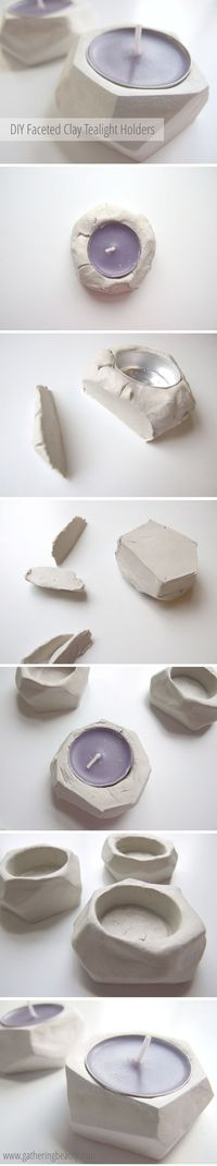 DIY Faceted Clay Tealight Holders - A Little Craft In Your Day