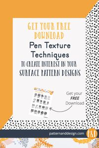 Pen and line texture techniques to create interest in your surface pattern designs and textile designs